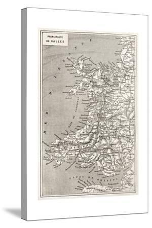 Wales Old Map. Created By Erhard And Duguay-Trouin, Published On Le Tour Du Monde, Paris, 1867-marzolino-Stretched Canvas Print
