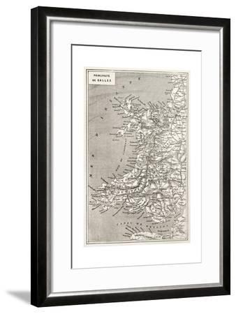 Wales Old Map. Created By Erhard And Duguay-Trouin, Published On Le Tour Du Monde, Paris, 1867-marzolino-Framed Art Print