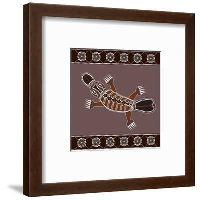 A Illustration Based On Aboriginal Style Of Dot Painting Depicting Platypus-deboracilli-Framed Art Print