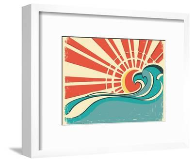 Sea Waves.Vintage Illustration Of Nature Poster With Sun On Old Paper-GeraKTV-Framed Premium Giclee Print