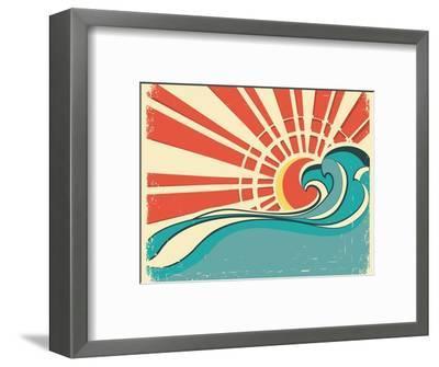 Sea Waves.Vintage Illustration Of Nature Poster With Sun On Old Paper-GeraKTV-Framed Art Print