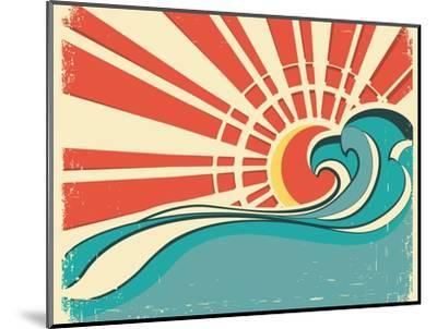 Sea Waves.Vintage Illustration Of Nature Poster With Sun On Old Paper-GeraKTV-Mounted Art Print
