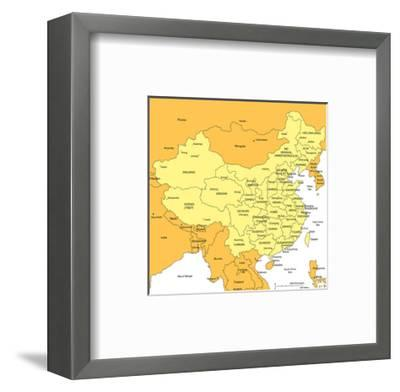 China With Administrative Districts And Surrounding Countries-Bruce Jones-Framed Art Print