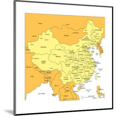 China With Administrative Districts And Surrounding Countries-Bruce Jones-Mounted Art Print