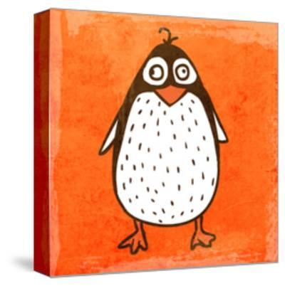 Cartoon Penguin. Cute Hand Drawn, Vintage Paper Texture-Ozerina Anna-Stretched Canvas Print