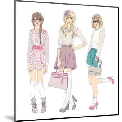 Young Fashion Girls Illustration. With Teen Females-cherry blossom girl-Mounted Art Print