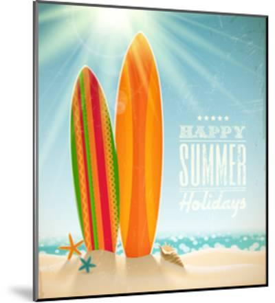 Holidays Vintage Design - Surfboards On A Beach Against A Sunny Seascape-vso-Mounted Art Print