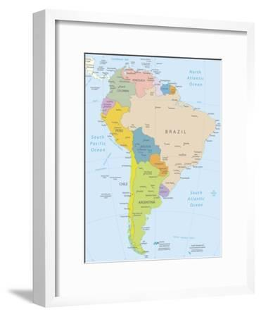 South America-Highly Detailed Map-ekler-Framed Art Print