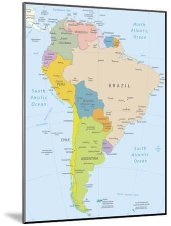 South America-Highly Detailed Map-ekler-Mounted Art Print