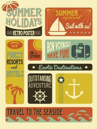 Summer Holidays Poster - Retro Style Summer Poster-LanaN.-Framed Art Print