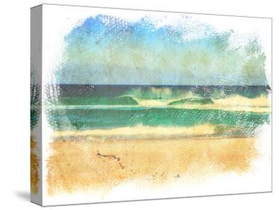 Sea Waves And Blue Sky In A Style Of A Old Painting On Grunge Canvas With Rough Edges- Lvnel-Stretched Canvas Print