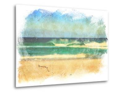 Sea Waves And Blue Sky In A Style Of A Old Painting On Grunge Canvas With Rough Edges- Lvnel-Metal Print