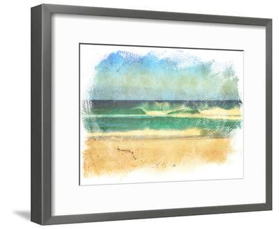 Sea Waves And Blue Sky In A Style Of A Old Painting On Grunge Canvas With Rough Edges- Lvnel-Framed Art Print