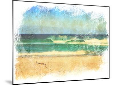 Sea Waves And Blue Sky In A Style Of A Old Painting On Grunge Canvas With Rough Edges- Lvnel-Mounted Art Print