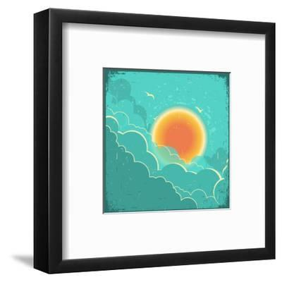 Vintage Sky Background With Sun And Dark Clouds On Old Paper Poster-GeraKTV-Framed Art Print