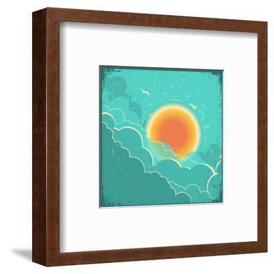 Vintage Sky Background With Sun And Dark Clouds On Old Paper Poster-GeraKTV-Framed Art Print