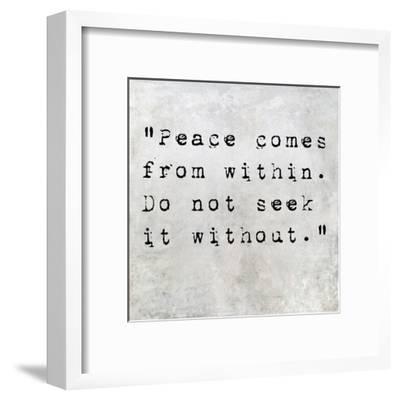 Inspirational Quote By Siddhartha Gautama (The Buddha) On Earthy Background-nagib-Framed Art Print