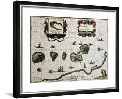 Maluku Island Old Map. Created By Willem Blaeu, Published In Amsterdam 1630-marzolino-Framed Art Print