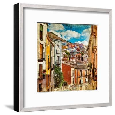 Colorful Spain - Streets And Buildings Of Cuenca Town - Artistic Picture-Maugli-l-Framed Art Print