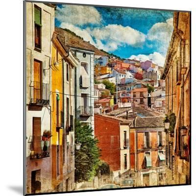 Colorful Spain - Streets And Buildings Of Cuenca Town - Artistic Picture-Maugli-l-Mounted Art Print