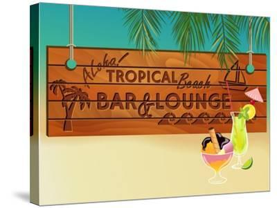 Tropical Beach Bar Wood Board Signpost, With Sandy Beach And Palm Tree Leaves In The Background-LanaN.-Stretched Canvas Print