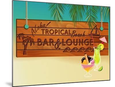 Tropical Beach Bar Wood Board Signpost, With Sandy Beach And Palm Tree Leaves In The Background-LanaN.-Mounted Art Print