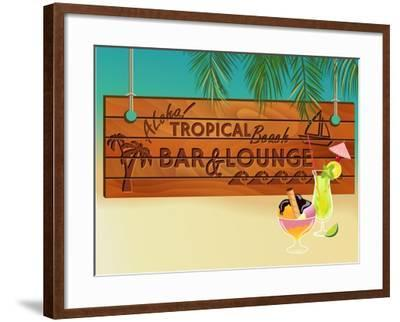 Tropical Beach Bar Wood Board Signpost, With Sandy Beach And Palm Tree Leaves In The Background-LanaN.-Framed Art Print