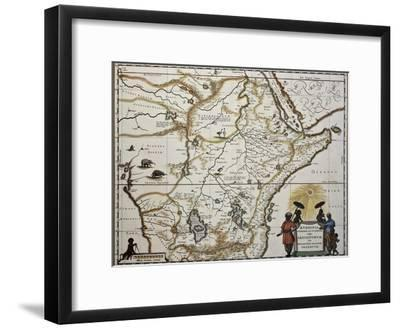 Ethiopia Old Map. Created By Joan Blaeu, Published In Amsterdam 1650-marzolino-Framed Art Print