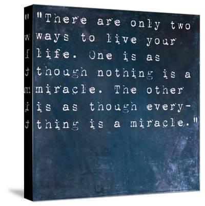 Inspirational Quote By Albert Einstein On Earthy Blue Background-nagib-Stretched Canvas Print