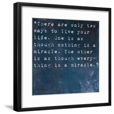 Inspirational Quote By Albert Einstein On Earthy Blue Background-nagib-Framed Premium Giclee Print