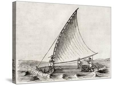 Old Illustration Of A Jangada, Traditional Fishing Boat Used In Northern Region Of Brazil-marzolino-Stretched Canvas Print