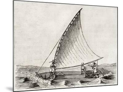 Old Illustration Of A Jangada, Traditional Fishing Boat Used In Northern Region Of Brazil-marzolino-Mounted Art Print