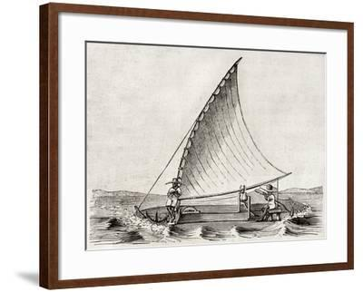 Old Illustration Of A Jangada, Traditional Fishing Boat Used In Northern Region Of Brazil-marzolino-Framed Art Print