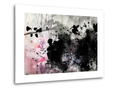 Abstract Black And White Ink Painting On Grunge Paper Texture - Artistic Stylish Background-run4it-Metal Print