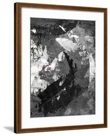 Abstract Black And White Ink Painting On Grunge Paper Texture - Artistic Stylish Background-run4it-Framed Art Print