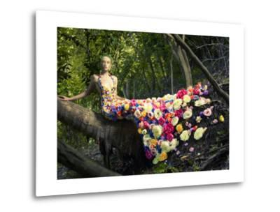 Blooming Gorgeous Lady In A Dress Of Flowers In The Rainforest-George Mayer-Metal Print