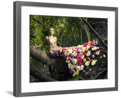 Blooming Gorgeous Lady In A Dress Of Flowers In The Rainforest-George Mayer-Framed Art Print
