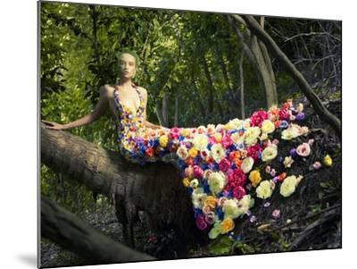 Blooming Gorgeous Lady In A Dress Of Flowers In The Rainforest-George Mayer-Mounted Art Print