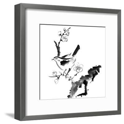 Chinese Painting , Plum Blossom And Bird, On White Background-elwynn-Framed Art Print