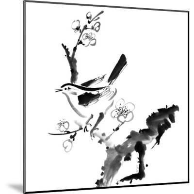 Chinese Painting , Plum Blossom And Bird, On White Background-elwynn-Mounted Art Print