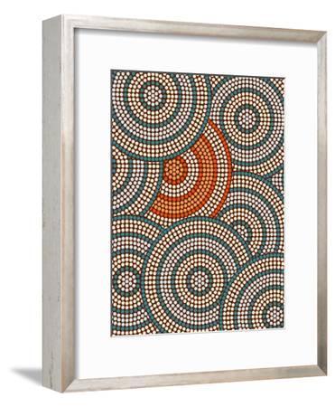 A Illustration Based On Aboriginal Style Of Dot Painting Depicting Circle Background-deboracilli-Framed Art Print