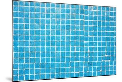 Tile Texture Background Of Bathroom Or Swimming Pool Tiles On Wall-rjmiguel-Mounted Art Print