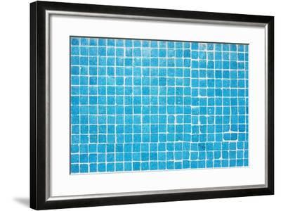 Tile Texture Background Of Bathroom Or Swimming Pool Tiles On Wall-rjmiguel-Framed Art Print