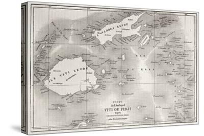 Old Map Of Fiji Islands-marzolino-Stretched Canvas Print