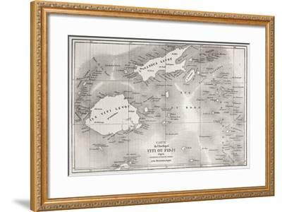 Old Map Of Fiji Islands-marzolino-Framed Premium Giclee Print
