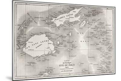 Old Map Of Fiji Islands-marzolino-Mounted Premium Giclee Print