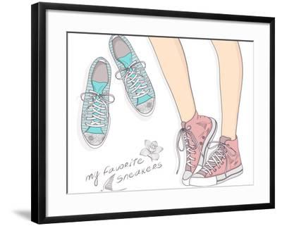 Shoes With Floral Pattern-cherry blossom girl-Framed Art Print