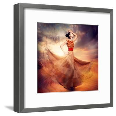Dancing Fashion Woman Wearing Blowing Long Chiffon Dress-Subbotina Anna-Framed Art Print