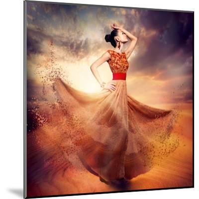 Dancing Fashion Woman Wearing Blowing Long Chiffon Dress-Subbotina Anna-Mounted Art Print