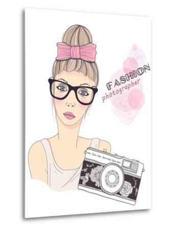 Fashion Girl Photographer-cherry blossom girl-Metal Print